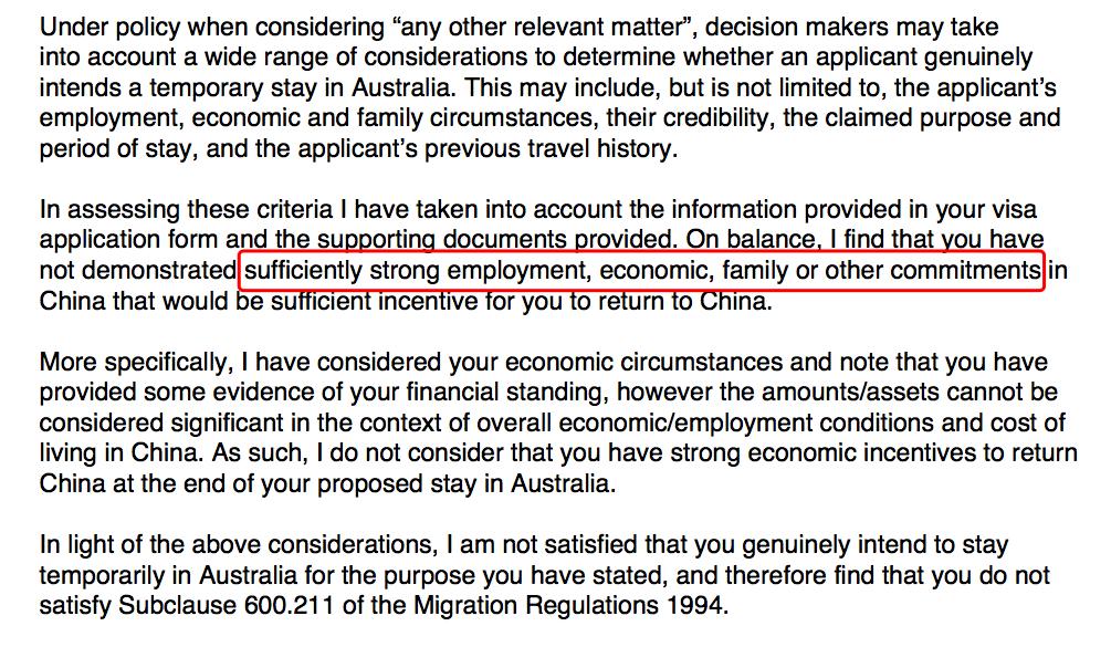 澳洲拒签信总结