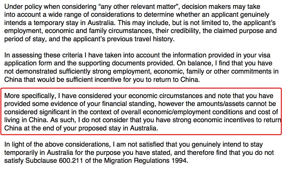 澳洲拒签信分析