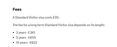 2019年英国签证费用