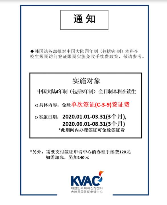 韩国\签证对我国本科生免签证费