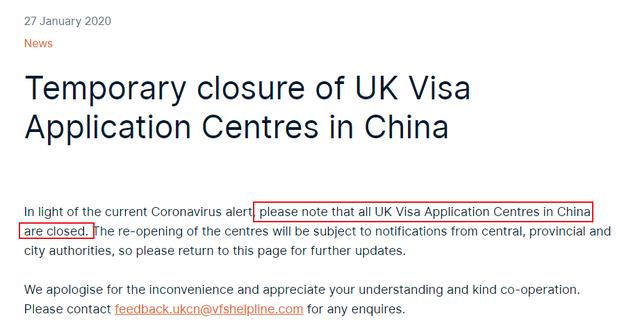 英国澳大利亚希腊关闭签证中心